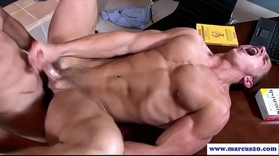 Thick cocked muscled dudes butt fucking