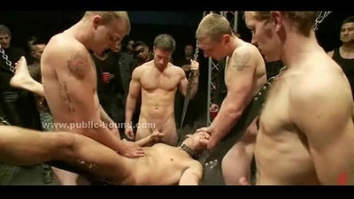 Gay boy learned how to fuck in gangbang