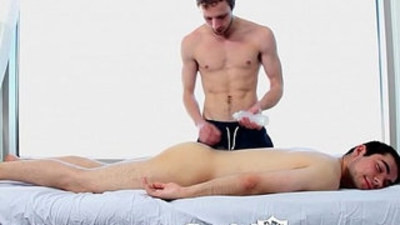 HD ManRoyale Shy Nico gets oiled up and massaged
