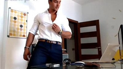 Latino Office Jerk Cum